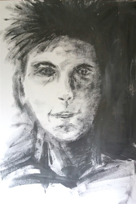 Who is this person? Graphite putty and water